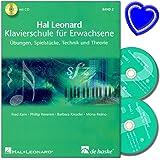 Hal Leonard Klavierschule für Erwachsene Band 2 mit 2 CDs von Fred Kern - Übungen, Spielstücke, Technik und Theorie - mit bunter herzförmiger Notenklammer