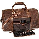 DONBOLSO® Weekender Neapel - Hochwertige Reisetasche Herren groß - Leder Reisetasche Braun - Handgepäck Ledertasche Größe XXL