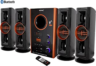 Vemax Eiffel Bluetooth Hi Bass Surround Sound System & Tower Speakers With FM USB AUX MMC (Black & Copper)