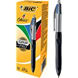 BIC 4 Colours Grip Pro Retractable Comfortable Ballpoint Pens - Box of 12 - Medium Point - Top-quality - (1.0 mm)