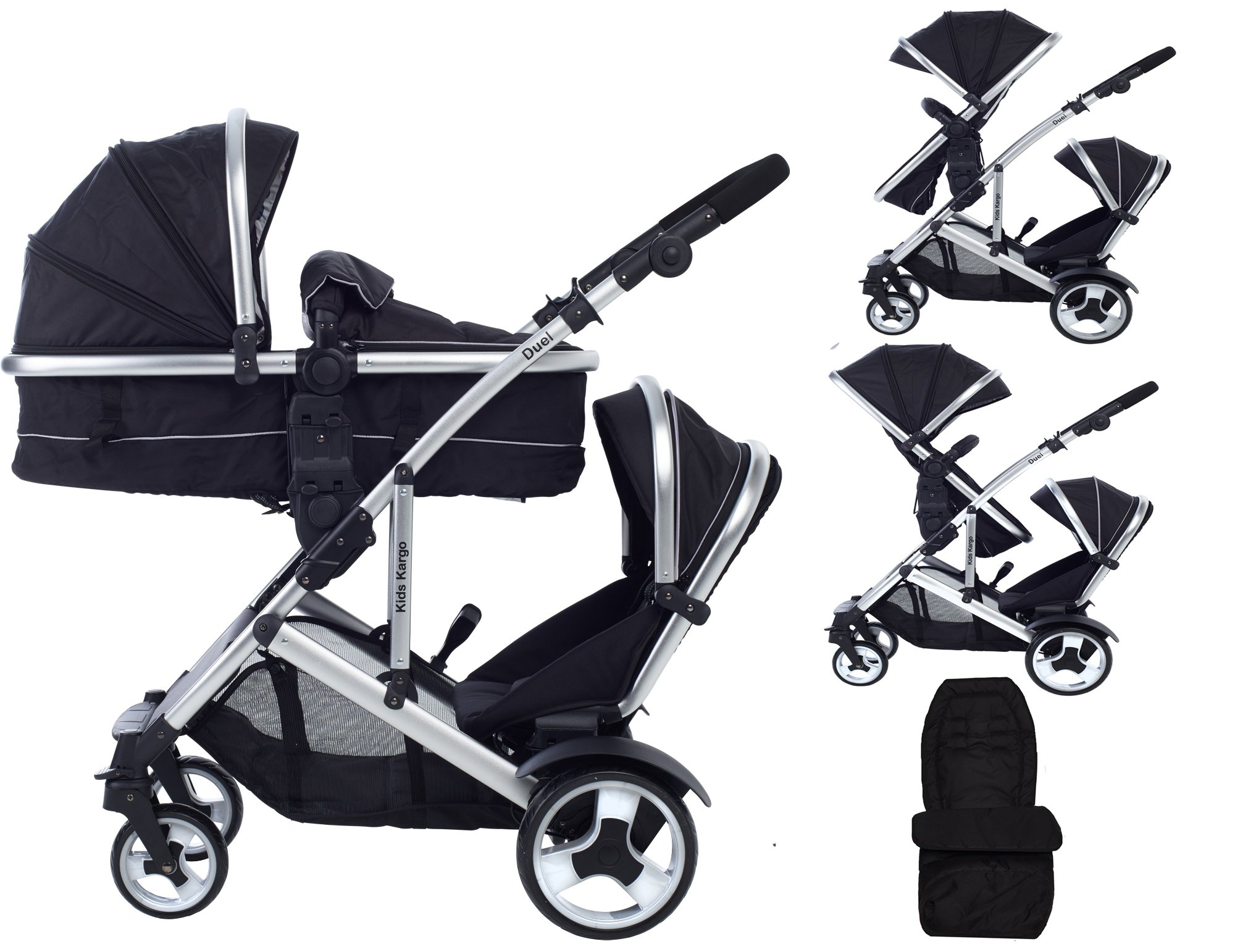 Kids Kargo Duel Combo Tandem Double Pushchair Stroller, Midnight Black Kids Kargo Tandem double pushchair suitable for newborn and toddler Complete with carrycot that converts to a seat unto to grow with your baby. carrycot has soft padded lining which zips off and mattress.. Carrycot & car seats fit in top or bottom position. compatible car seats; kidz kargo 0+, britax babysafe 0+ (no adapters needed) or maxi cosi adaptors 1