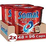 Somat Excellence 4in1 Caps (96 Caps), Spülmaschinentabs in 100 % wasserlöslicher Hülle, Somat Caps für exzellente Reinigung &