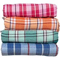 Gowri Tex Pure Cotton Checkered Bath Towels 60inches/28inches2.5feet/5feet 70cms/152cms (Combo Pack: 4) Multi Colour