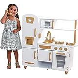 KidKraft 53445 Moderne weiße Spielküche aus Holz - Goldenen Akzenten und einem 27-teiligen Küchenset