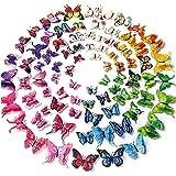 96 pegatinas de pared de mariposa de color 3D, decoración de boda / fiesta de cumpleaños, decoración del hogar para niños / g