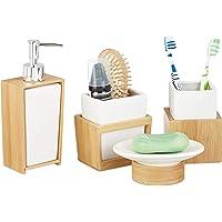 Relaxdays Accessoires salle de bain bambou céramique Set 4 pièces distributeur savon gobelet brosse à dent, nature blanc