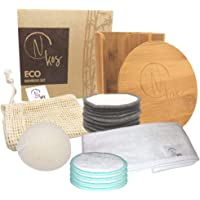 N KOS | Eco Bamboo Set | 14 Dischetti Struccanti Lavabili + 1 Spugna Konjac + 1 Fascia per Capelli + 1 Custodia per…