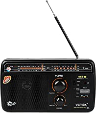 VEMAX Pluto 5-Band USB Portable Radio with Remote and Charger (Black)