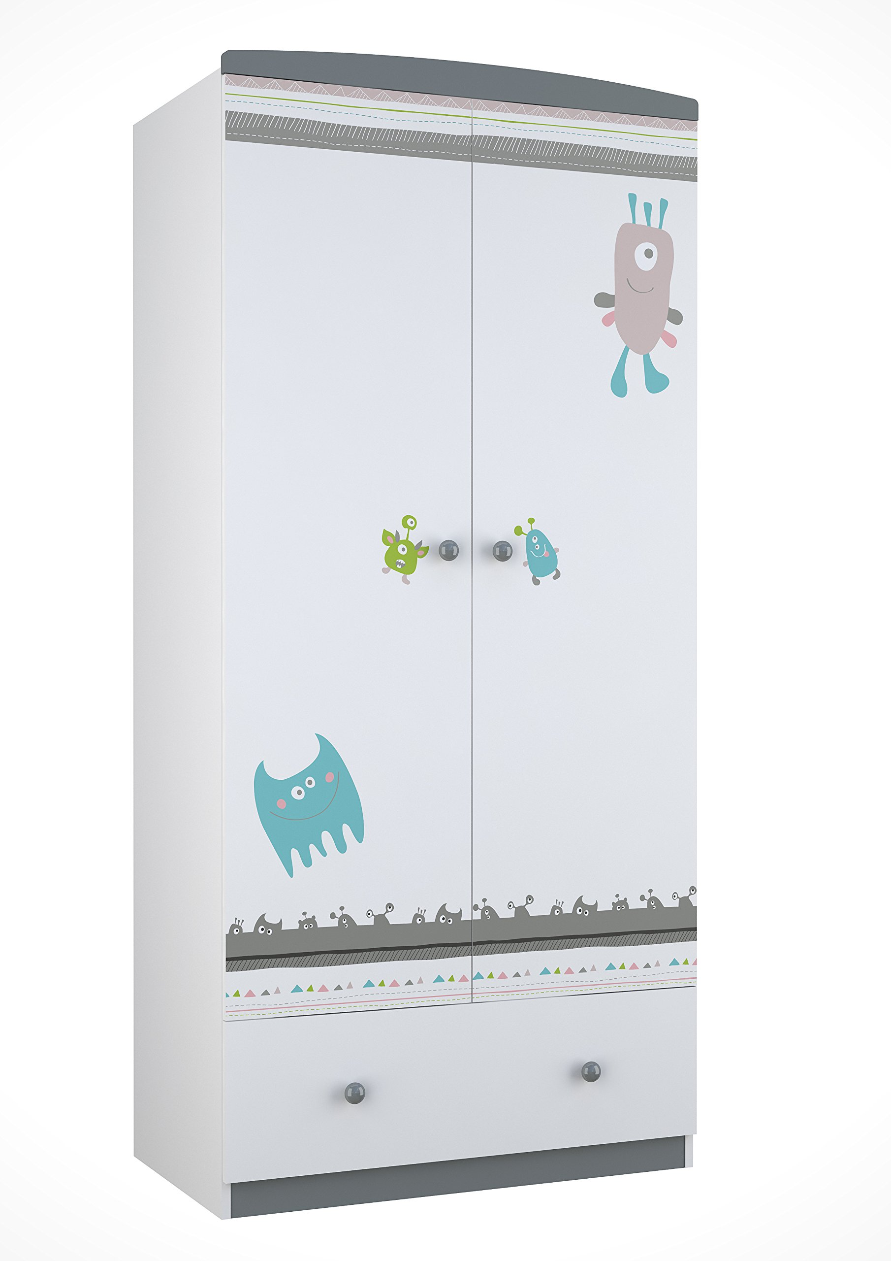 Polini Kids 0001189-2 Basic Collection 2-Sectioned Wardrobe W/Drawers, White-Grey Polini Kids Spacious wardrobe with two sections Made of MFC chipboard from KRONOSPAN (Austria) Comes with 4 shelves and 1 clothes rail 1