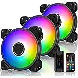 EZDIY-FAB Ventilateur de Boîtier D'ordinateur 120mm, Ventilateur Aura Sync de Carte Mère,Vitesse Réglable,Ventilateur RGB Adr