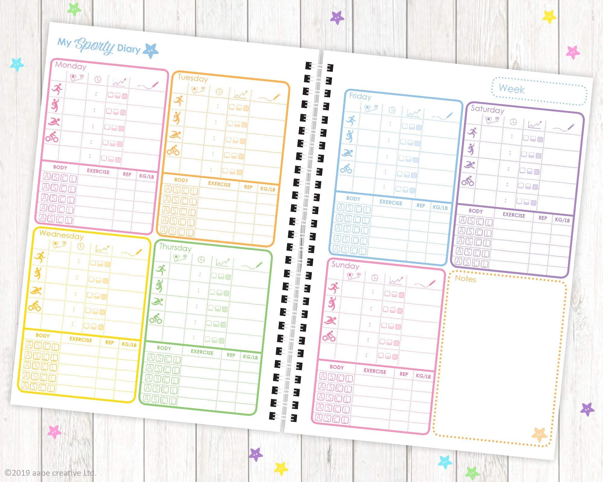 My Sporty Diary (12 meses) planificador de ejercicios, planificador de fitness, diario de ejercicios, hecho a mano, A5… 3