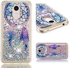 Cover Huawei Honor 6A, Lyzwn 3D Glitter Liquido Sabbie Mobili Trasparente Morbido TPU Silicone Custodia per Huawei Honor 6A Brillantini Sequin Posteriore Protettiva Case