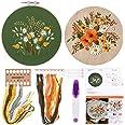 FEPITO Borduurstartpakket met patroon en instructies borduurpakket inclusief borduurkleding met bloemmotief, plastic borduurr