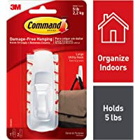 Command Large Hooks, Holds 2.2 kg, (1 hook, 2 strips), No Drilling, Holds Strong, No Wall Damage