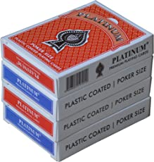 The Ace Card Company Plastic Coated Linen Playing Cards (2 Red, 2 Blue) - 4 Pack