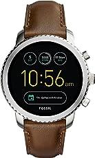 Fossil Herren Smartwatch Q Explorist 3. Generation - Leder - Klassische & Elegante Smartwatch im Vintage Design mit Diversen Funktionen/Für Android & iOS