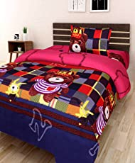 Amayra Home 180 TC Microfibre Single 3D Luxury Bedsheet with 1 Pillow Cover - Character, Multicolour