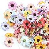 Artificielle Gerbera Marguerite Fleurs 50PCS Fleurs Artificielles en Soie en Vrac Fleurs Artificielles Têtes Marguerite Artif