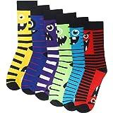 Mens/Kids 6 Pack Novelty Monster Socks - Cotton Rich Designer Socks - Black Socks with Bright Colours