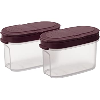 Signoraware Small Sprinkles N Spice Twin-Lid Storer Set, Set of 2, Maroon