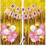 Party Propz 34Pcs Pink,Golden and White Birthday Balloons Combo For Kids Or Birthday Decoration Items For Girls