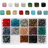 PHOGARY 1050 unids Cube Glass Beads, Crystal Square Spacer Beads, 4 mm Rondelle Shape para DIY Crafting (15 Colores)