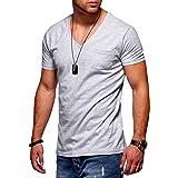 behype. 20-0141 Men's Short-Sleeved Basic V-Neck T-Shirt with Chest Pocket
