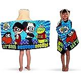 منشفة حمام وشاطئ قطنية ناعمة من تيري بغطاء للر اس من فرانكو للاطفال، مقاس 24 × 50، نمط عالم رايان