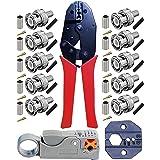 Kagni Herramienta para Engastar,Crimpadora y 10 Conectores BNC Macho con Alicates de Pelado para RG59 Cables Coaxiale