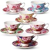 طقم من 6 أكواب شاي وأكواب شاي وصحون من شركة بي تي تي - طقم شاي بأزهار (236 مل) ، طقم فناجين شاي وصحون ، طقم شاي بورسلين ، أكو