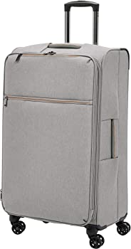 AmazonBasics - Belltown Wattierter Weichschalen-Rollkoffer - 78 cm, Grau