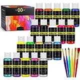 Magicfly Tempere Lavabili per Bambini, 20 Colori x 60 ml, Tempera per Bambini Atossici Lavabili, Tempere per Dipingere Glitte
