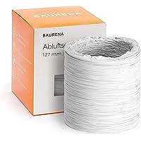 Tuyau d'évacuation BAURENA® 125 mm, 3 m - Tuyau pour climatiseur mobile et sèche-linge - Montage facile - Hotte aspirante - Blanc flexible 3 m
