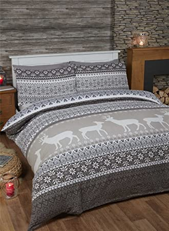 Fairisle 100% Brushed Cotton Flannelette Quilt Duvet Cover and 2 ...