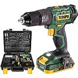 Taladro Atornillador 18V, TECCPO Taladro Percutor a Batería, 105PCS accesorios, 2 Baterías 2.0Ah, 2 Velociadades ajustables,