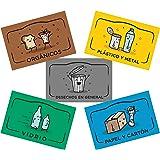 Rekay Pegatinas para el Reciclaje, 5 Etiquetas Adhesivas para Reciclar y Separar Residuos, Etiqueta Cada Cubo de Basura con A