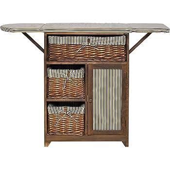 mobili rebecca meuble table de couture 1 porte 3 tiroirs osier tissu bois marron style retro