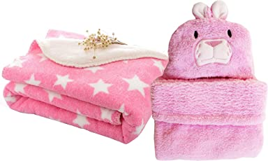 My Newborn Combo Baby Blanket and Polka Wrapper, Pink Spread Rabbit (Pack of 2)