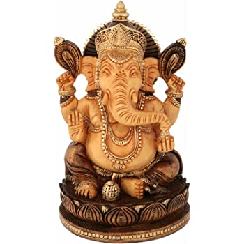 Collectible India Ganesh Statue Showpiece Figurine Wooden Sculpture Ganesha Idol Diwali Gifts