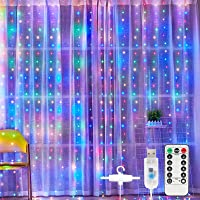 Curtain Lights, Sunnest 300 LED Curtain Fairy Lights 3mx3m USB Window String Lights with 8 Modes Remote Control Timer…