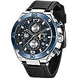Orologio da uomo BENYAR cronografo impermeabile con cinturino in pelle al quarzo analogico Orologio da polso da uomo Regalo p