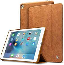 iPad Pro Leather Case Jisoncase Vintage Genuine Leather Smart Cover Flip Folio Protective Case with Auto Wake Sleep Function for Apple iPad Pro 9.7-inch Father s Day Black JS-PRO-11A10 brown