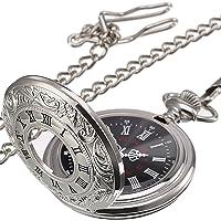 Orologio da tasca al quarzo con catena e numeri romani classici