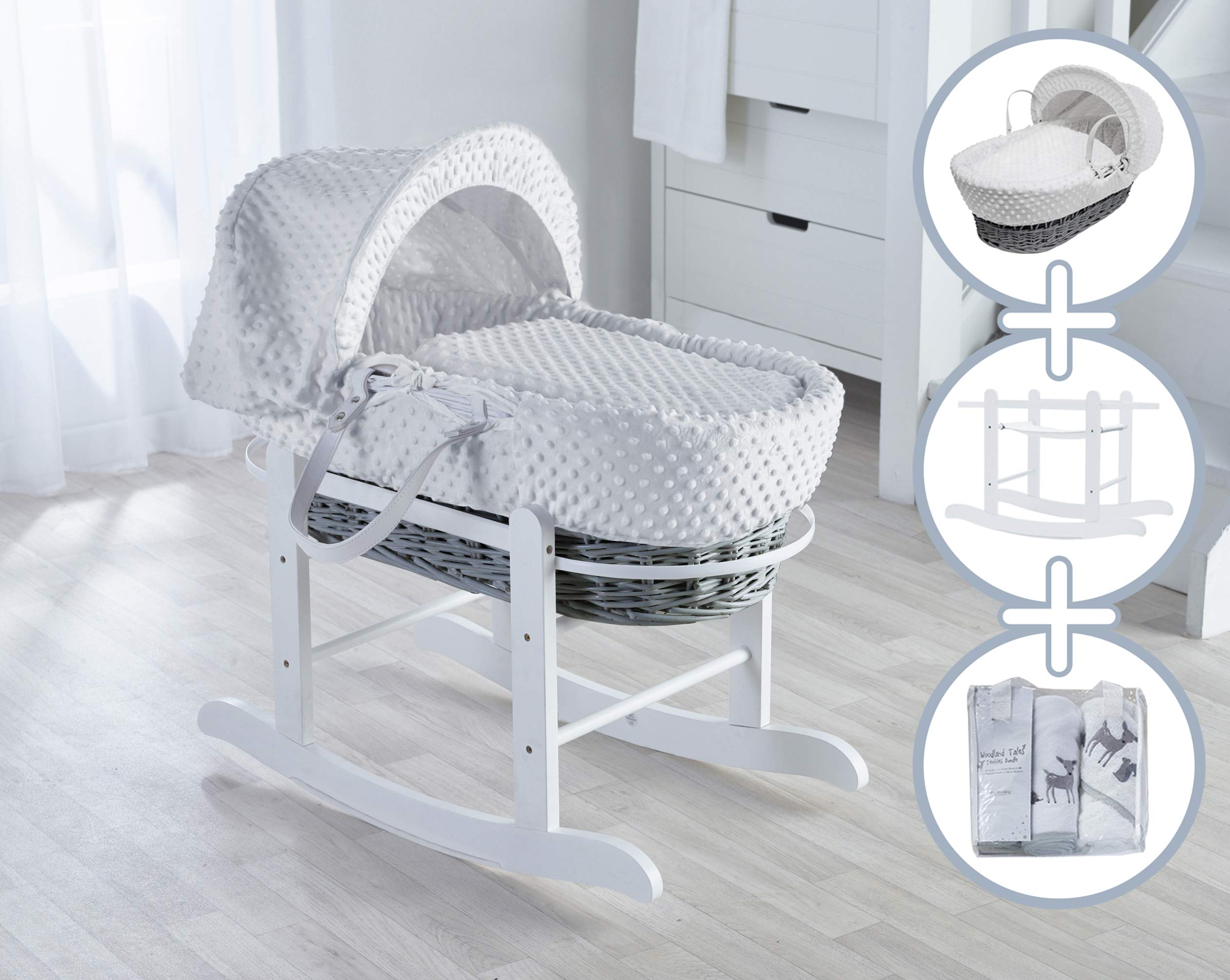 White Dimple Moses Basket, Deluxe Rocking Stand and Grey Three Little Birds Starter Set Bundle Elegant Baby Stylish Elegant Baby Exclusive moses basket Opulent cotton blend fabric with a luxurious soft padded surround Baby Essentials Bundle containing hooded towel, fleece blanket and cellular blanket 1