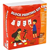 CocoMoco Kids Block Printing DIY Kit, Activity Kit for Kids with Wooden Stamps, Return Gift for 3-5 Years, 7-8 Years (Multico