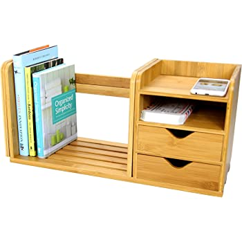 Desktop Expandable Adjustable Bookshelf With Drawers Made Of Natural Bamboo