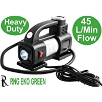 RNG EKO GREEN - Heavy Duty Supersonic High Speed Tyre Inflator for Car/Bike 12V/180W/100PSI Air Compressor with LED-Black (1.5 Times High Power 45L/min, Low Noise 85 db)