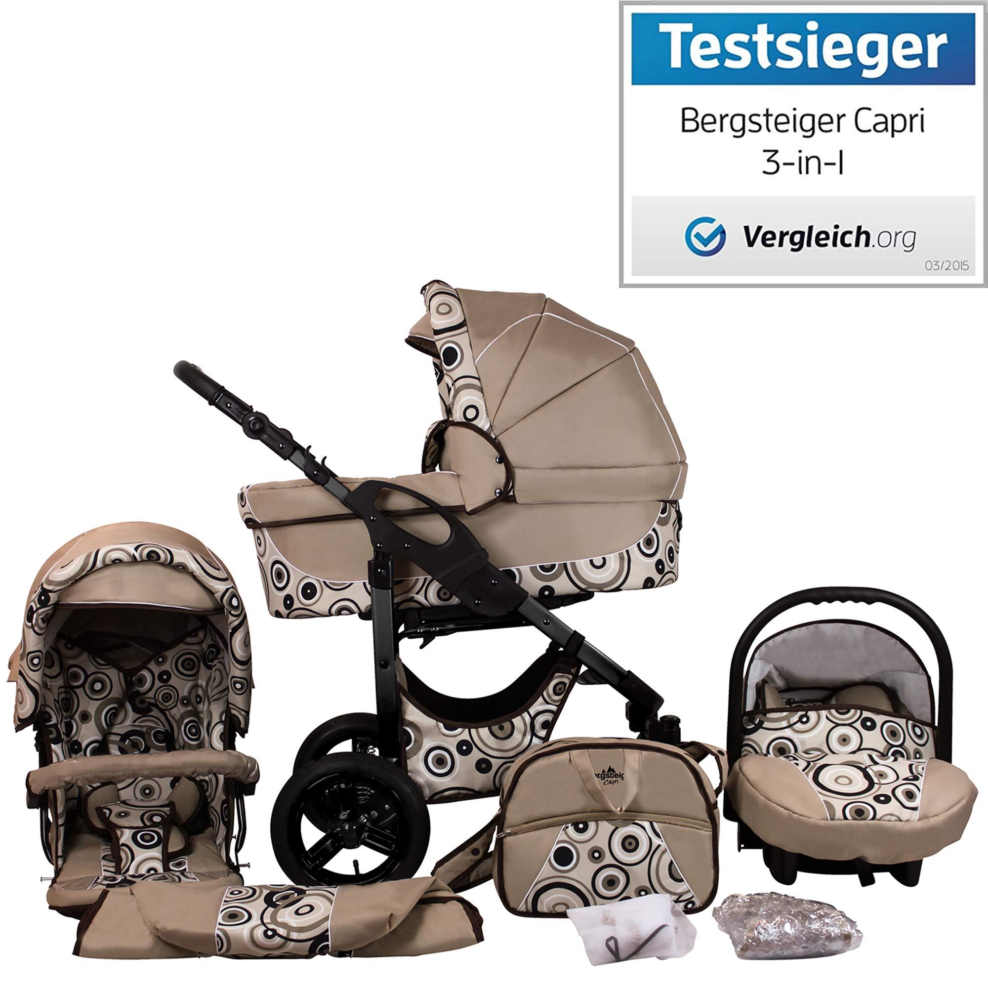 Bergsteiger Capri Beige Circles (Anthrazit) Kinderwagen 3 in 1 Kombikinderwagen Megaset 10 teilig inkl. Babyschale, Babywanne, Sportwagen und Zubehör