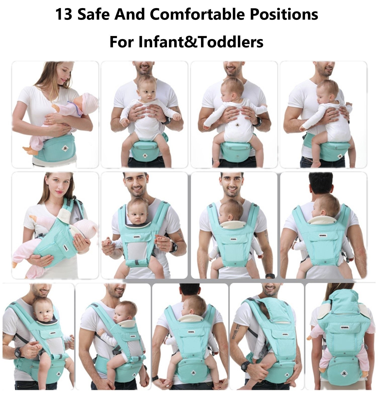 All Seasons 360 Ergonomic Baby Carrier 3 in 1 Backpack with Hip Seat-12 Position,Adapt to Growing Baby (Newborn, Infant & Toddler), Adjustable Baby Carrier Sling,Baby Diaper Bag with Large Capacity tqgold Ergonomic And Comfortable: Ergonomic Butterfly hip seat design to ensure baby's hips and legs are positioned correctly and comfortably, minimizes leg bending and prevents O-LEG Breathable And Soft: 100% cotton with high quality 3-D mesh keeps you and your baby cool. Removable shutter can keep warm in winter and cool in summer, suitable for all seasons use. Wide and sturdy lumbar belt ensures baby's weight is distributed evenly over the carrier's hip and shoulder areas for comfort 3 in 1 and All Carry Positions: The Waist Stool (bucket seat) could be detached from Upper Strap by unbuckling the connection buckles. Both Upper Strap and Waist Stool can be used separately. Front inward (fetal, infant, or toddler settings), front outward, hip or backpack carry options all in one. Face baby in or out. Wear on the hip or back as baby grows. 6