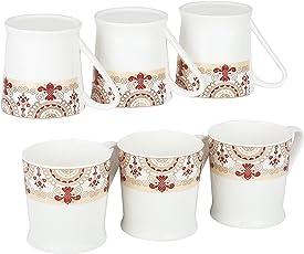 Femora Bone China Floral Border Microwave Safe Tea Cup Coffee Mug, Set of 6, 185 ML- 1 Year Warranty